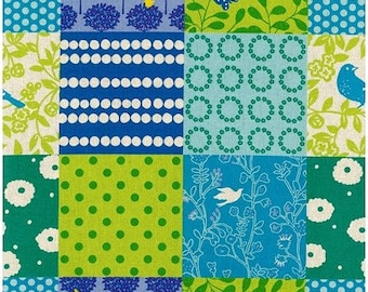 Story in Green - Echino by Kokka Cotton Canvas Fabric Fat Quarter