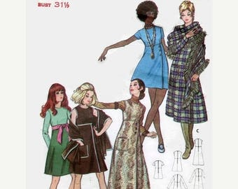 SUMMER SALE 1960s Butterick 5887 Empire Waist A-line Dress Jumper Wrap Vintage Sewing Pattern Size 8 Bust 31.5