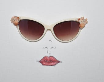 Cream and Tortoise Designer Fashion cat-eye sunglasses with genuine shell embellishments.