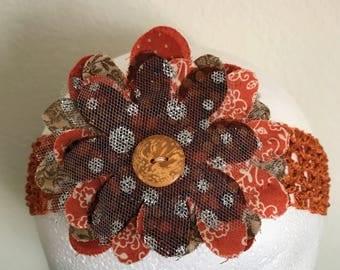 Baby Girl/Little Girl's Headband with Burnt Orange Flowers