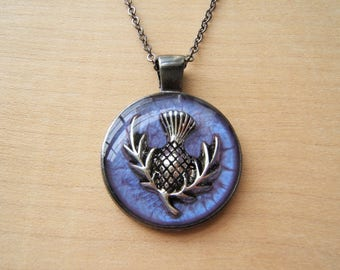 Scottish thistle pendant necklace. Emblem of Scotland.  Gunmetal. Purple silver. Handmade resin necklace.