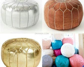 Moroccan Poufs - Set of FOUR 4 Moroccan leather poufs! All colors! Save! Holidays sale marrakech goat leather