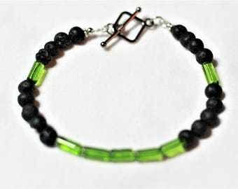 "9"" Lava rock and glass bead bracelet"