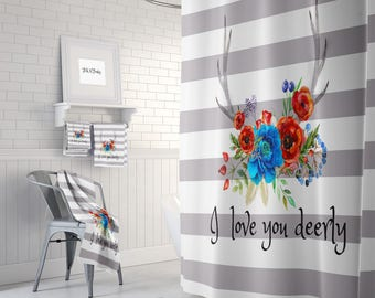 """I Love You Deerly"""" Boho Shower Curtain , Floral Deer Antlers  Bath Mat and Towels"""
