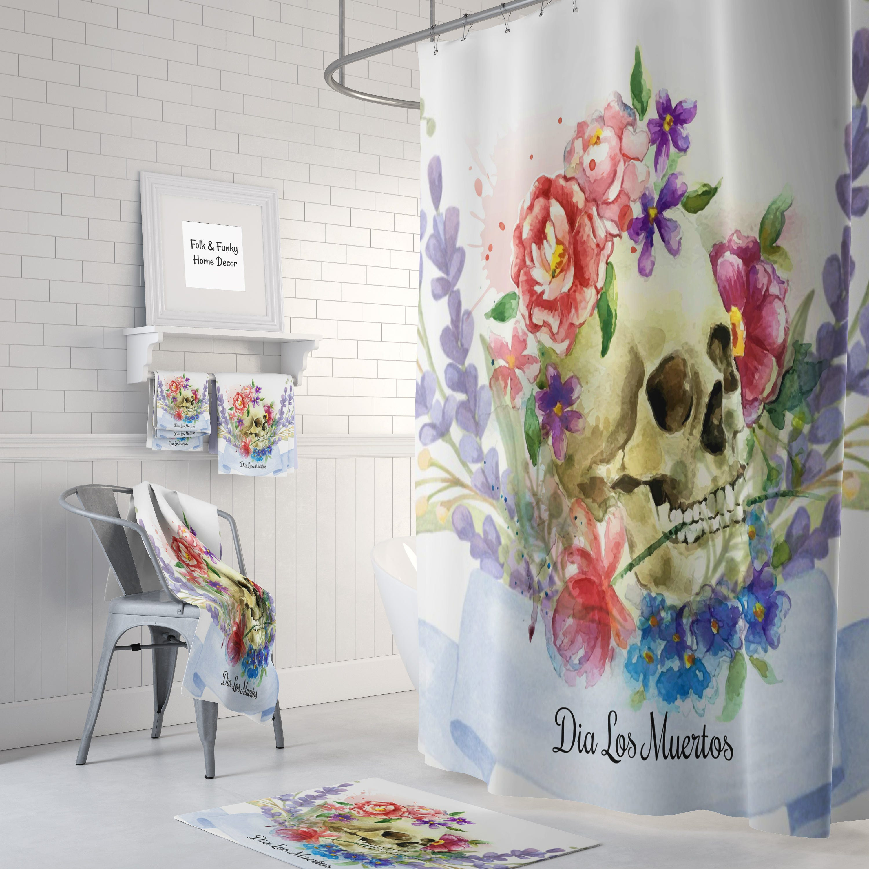 Sugar Skull Shower Curtain Day Of The Dead Watercolor Floral