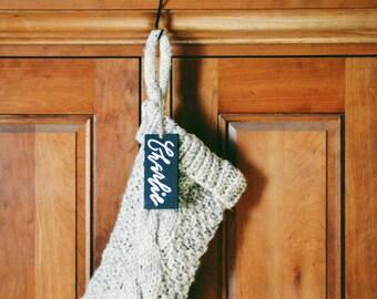 knit christmas stockings, chunky knit christmas stocking, traditional hand knit christmas stocking, gift for her, christmas gift, READY SHIP