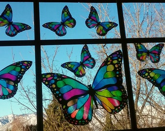 Stained Glass Butterfly Window Cling Decal Suncatcher Window Decor Prints Summer Spring Decoration Garden Art Glass Cling Faux Stained Glass