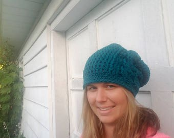 Slouchy Crochet Cable Beenie