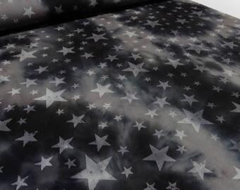 Fabric Sweatshirtstoff Alpenfleece star Batik Vintage retro Anthracite grey (18.00 EUR/meter)