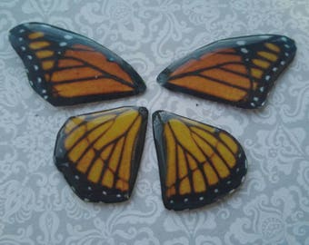Monarch Butterfly wings. Artbeads. Handmade fantasy beads. Insect wings. Entomologist. Resin