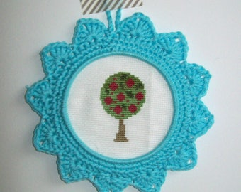 Small frame hook hand-made - light Turquoise color