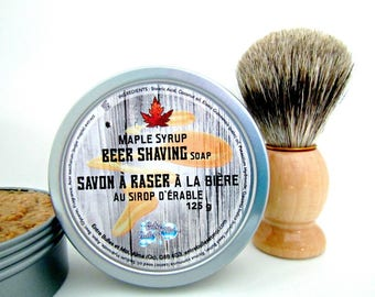 Maple syrup Beer Shaving Soap with badger shaving brush- Gift for HIM