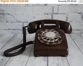 Brown Rotary Dial Desk Telephone,ITT Chocolate Brown Dial Telphone, Brown Desk Phone