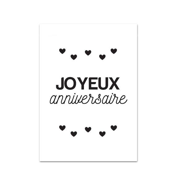 Carte postale joyeux anniversaire a6 - Joyeux noel noir et blanc ...