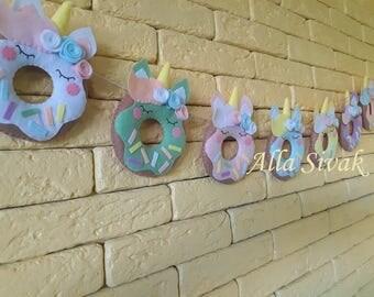 Donut Garland, Unicorn Garland, Felt Donut Garland, Felt Unicorn Garland, Pastel Rainbow Unicorn Garland, Unicorns and donuts Garland