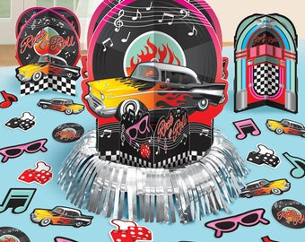 23 Pc Rockin 50's Party Table Centerpiece Decorating kit - 50's Birthday Party Decorations - 1950's Birthday - Matching Tableware Available!