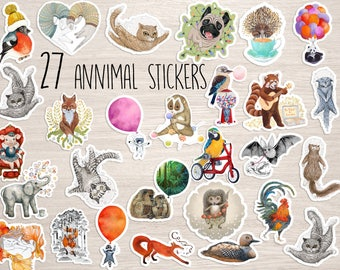 27 Animal vinyl Stickers pack set decal laptop iphone decal, skateboard  cute cool stickers animal nature stickers penguin raccoon dog cat