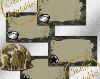 Army Labels - Instant Download - Printable Labels - Army Party