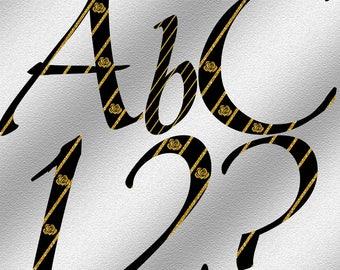 Black and Gold Alphabet & Numbers - Digital Download - Digital Alphabet
