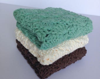 Crochet Dishcloths Washcloths for Kitchen or Bathroom; Set of 3 in Seamist, Cream, and Brown; 100% Cotton