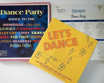 Vintage Dance Party Record Album - 8 records, 33 RPM, instructions - 1976 - vinyl, Arthur Murray, 15-Page Dancing Guide, RDA-201-A