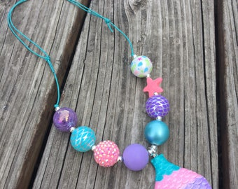 Mermaid Tail Adjustable Cord Chunky Necklace // Mermaid  // Adjustable // Chunky Bead Necklace // Under the Sea // Mermaid Tail