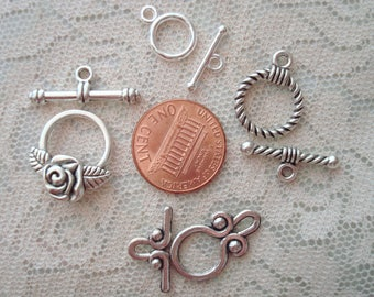 Silver Toggle Clasps. 5 Styles! 10 to 30 Sets *Roses, Twists, Loops and Tiny Smooth. 10 to 18mm Hoops Tbars 16 to 24mm  ~USPS Ship Rates /OR
