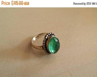 Holiday SALE 85 % OFF Green Amethyst ring size 5 Sterling 925 Silver   Ring  Gemstone