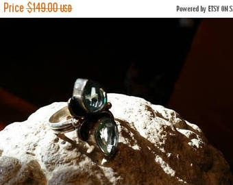 Holiday SALE 85 % OFF Green Amethyst  Size 6 Ring Vintage  Gemstone. 925 Sterling Silver