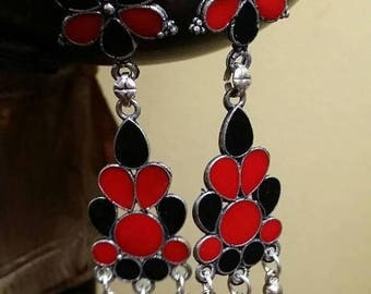 Holiday SALE 85 % OFF Red coral Black Onyx  Sterling silver Earrings Gemstone  .925