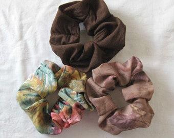 3 brown scrunchies, brown scrunchie, brown ponytail holder, hair accessory, hair tie, brown hair elastic, ponytail tie, ponytail elastic