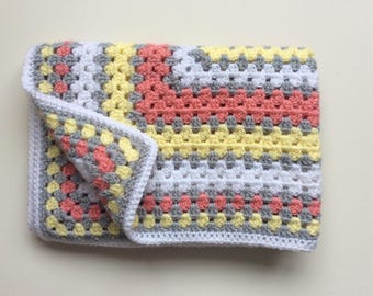 Vintage style grey/white/yellow  baby blanket / granny square