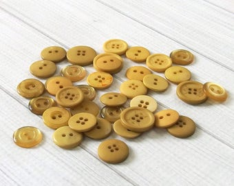 Mixed Buttons, Harvest Gold - Craft Buttons, Sewing Buttons, Bulk Buttons, Doll Clothes, Button Crafts, Fall Crafts