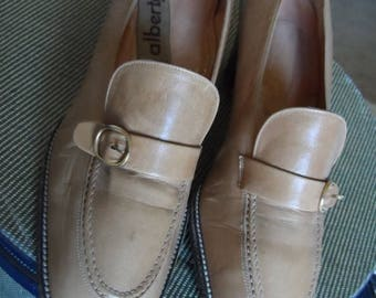 40% OFF 70's Italian Leather Tan Heels / Made in Italy by ALBERTO'S /.Detailed Stitching / Gold Buckles / Size 36 1/2  / Excellent Vintage C