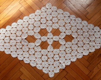 Unique vintage rhombus shape beige cotton crochet table topper with flowers, handmade table runner, large doily, home decor