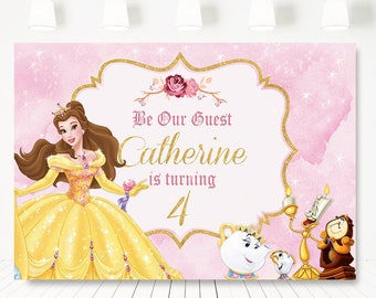 Beauty And The Beast Birthday Party Backdrop Princess Belle Banner BackdropPrincess