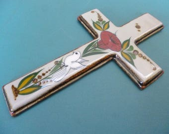 Mexican Ceramic Cross Vintage Folk Art Wall hanging  Flower and Dove Design From Mexico