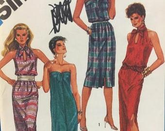 ON SALE 1980s, Halter Dress, Simplicity 6431, Sewing Pattern,Strapless Dress, Slit Dress, Pocket Dress, Long Dress,Below Knee Dress,Beach Co