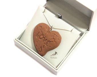 Necklace polymer clay, Chocolate Necklace Heart Necklace, Pendant Necklace, Women Necklace, Food Jewelry,polymer clay Jewelry, Handmade