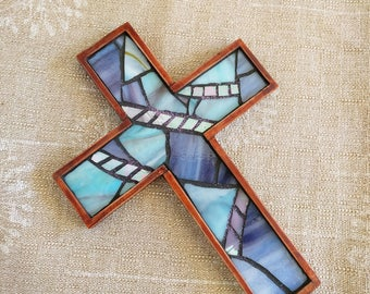 Handmade Blue Wall Cross, Wooden Wall Cross, Blue Purple Stained Glass Mosaic Wall Cross, Blue Baptism Hanging Cross