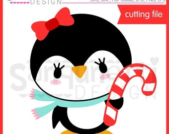 Penguin with candy cane SVG, Candy cane SVG, Winter svg, Christmas svg, Christmas lettering, eps, DXF, svg Files for Cutting Machines