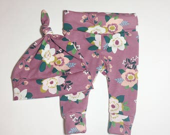Cotton Knit, purple green Floral Flower Pink Baby,Toddler Leggings, Pants photo prop,newborn,take home outfit,little girl,fall,summer,warm
