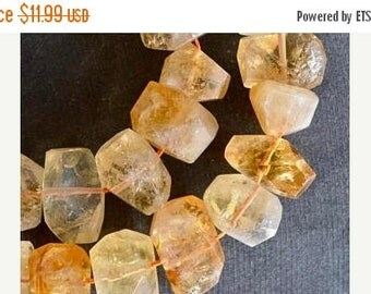 20% SALE Large Golden Citrine Nugget Beads, Faceted Citrine Nuggets, Large Yellow Stone Beads (4 Beads) 17-19mm Yellow Gemstone