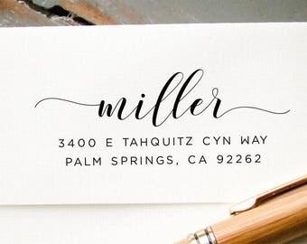 Address Stamp, Self-Inking Return Address, Modern Calligraphy, Personalized Rubber Stamp, Wedding Invitation Envelope Addressing