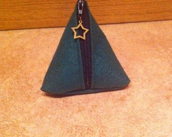 Green and black cherry felt coin purse