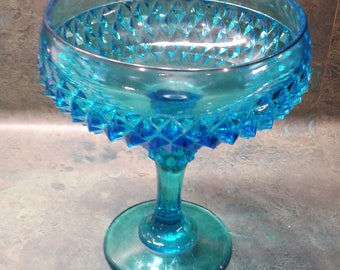 Indiana Glass Co. Diamond Point Pattern Compote - Vintage 1970