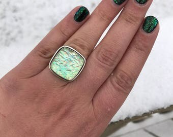 Opal Dichroic Glass Square Cabochon Glitterly Sparkly Silver Statement Ring