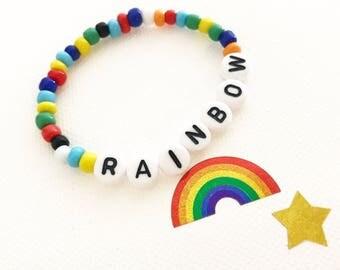 Rainbow Baby, Rainbow Bracelet, Name Bracelet, Rainbow Baby Gift, Newborn Bracelet, Toddler Bracelet, Infant Bracelet, Baby Name Bracelet