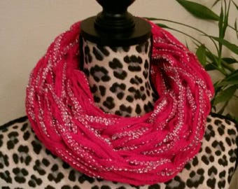 Elegant arm knitting infinity scarf for adult or teens