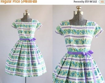 BIRTHDAY SALE... Vintage 1950s Dress / 50s Cotton Dress / Blue Floral and Purple Striped Dress w/ Ribbon Waist Tie S/M